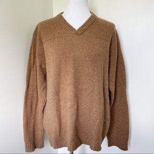 J. CREW 100% Wool Camel V-neck Sweater Size L